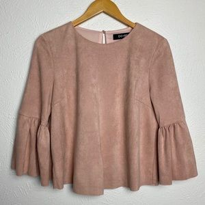 Nordstrom Do + Be Faux Suede Bell Sleeve Raw Hem